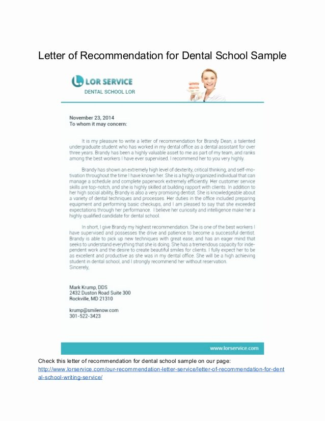 Letter Of Recommendation Dental School New Samples Of Letter Of Re Mendation