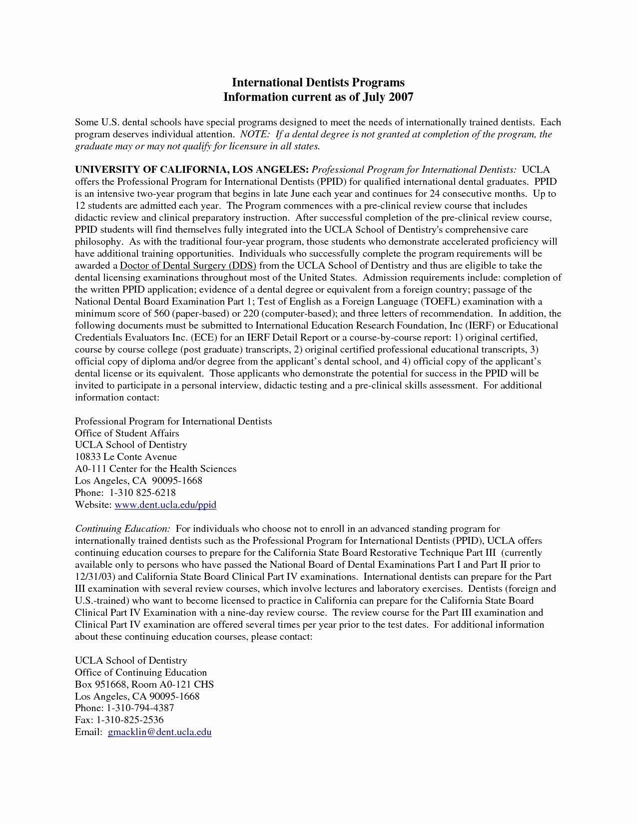 Letter Of Recommendation Dental School Unique Sample Letter Re Mendation Dental School Save Re