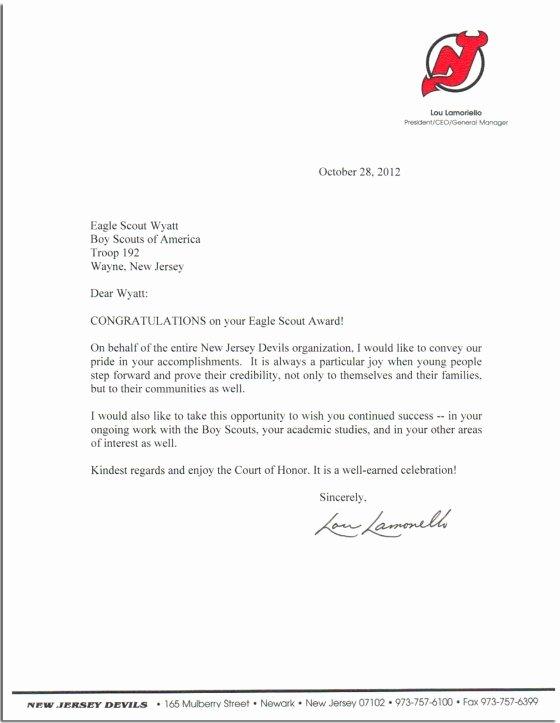 Letter Of Recommendation Eagle Scout Elegant Lamoriello