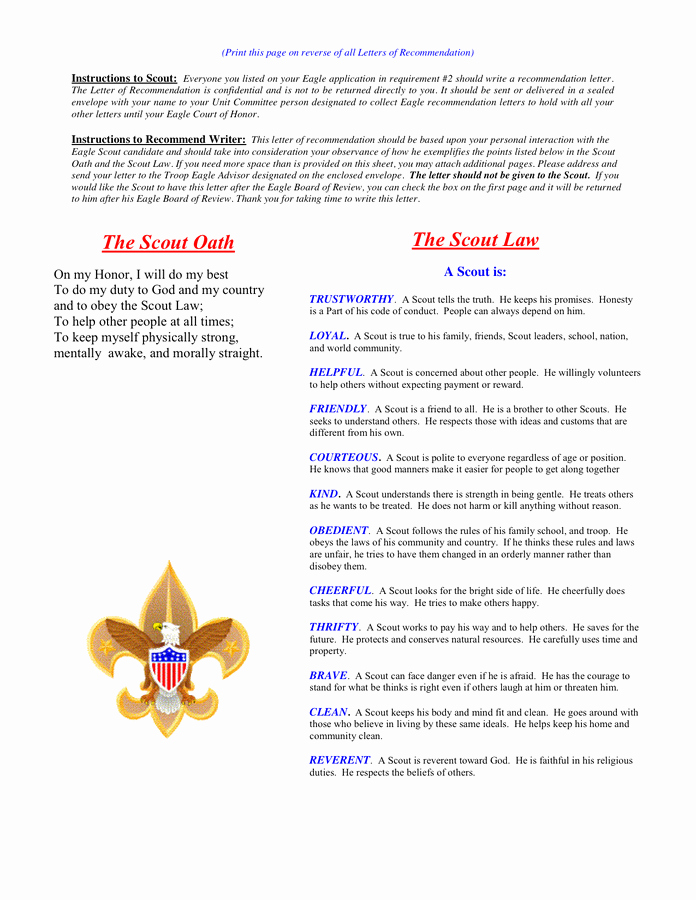 Letter Of Recommendation Eagle Scout Fresh Eagle Scout Reference Letter Template In Word and Pdf