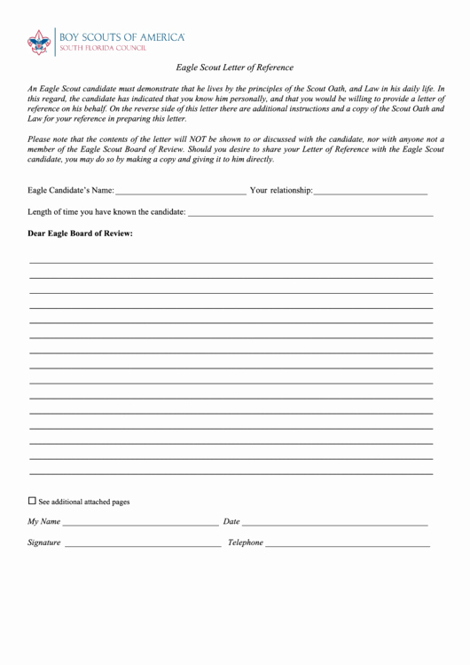 Letter Of Recommendation Eagle Scout Inspirational Fillable Eagle Scout Letter Reference Template