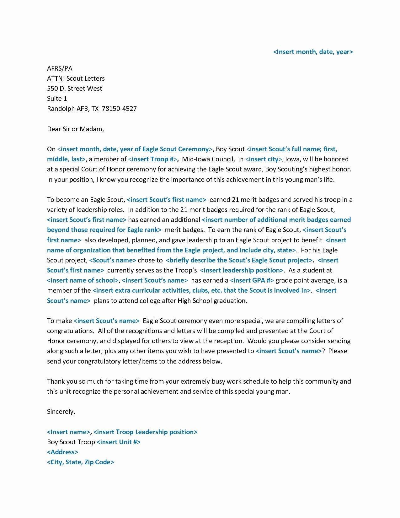 Letter Of Recommendation Eagle Scout Lovely Eagle Scout Re Mendation Letter form