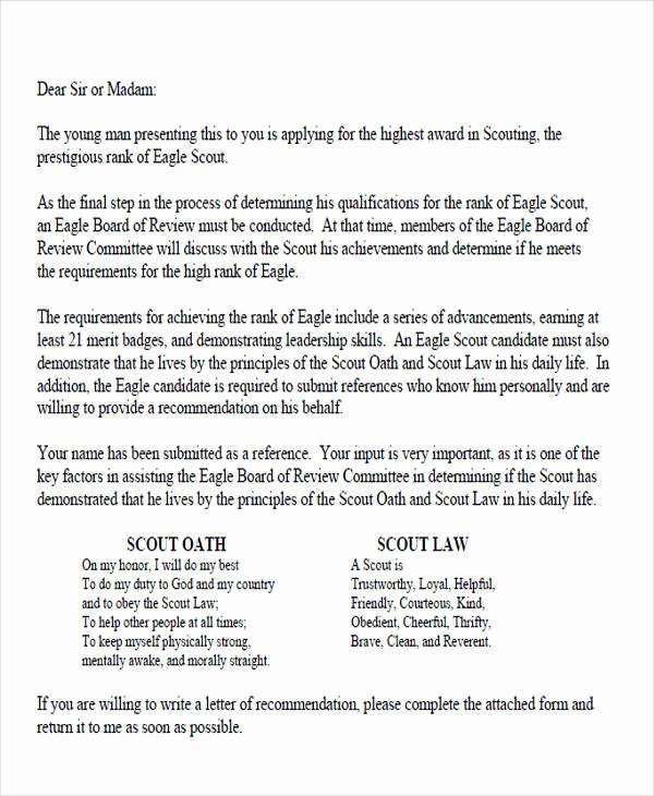 Letter Of Recommendation Eagle Scout Luxury 9 Sample Eagle Scout Re Mendation Letter Templates
