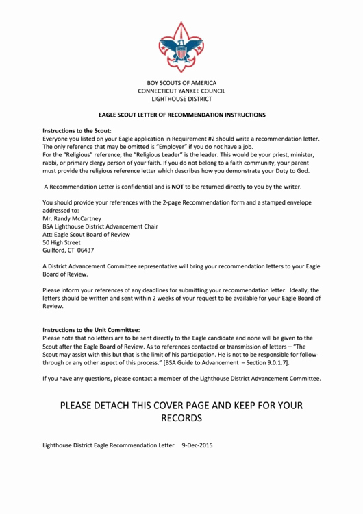 Letter Of Recommendation Eagle Scout New Eagle Scout Letter Re Mendation Template with