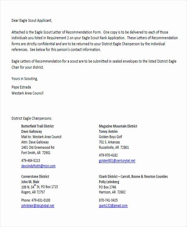 Letter Of Recommendation Eagle Scout Unique 9 Sample Eagle Scout Re Mendation Letter Templates