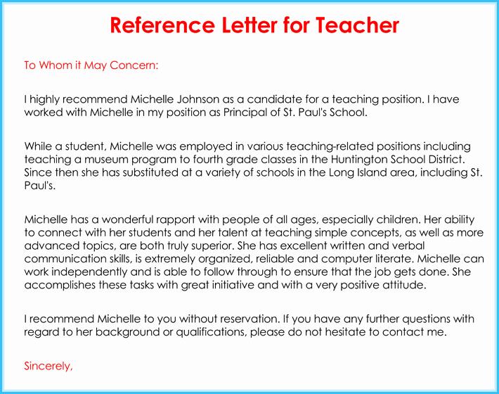 Letter Of Recommendation Elementary Teacher Inspirational Teacher Re Mendation Letter 20 Samples Fromats