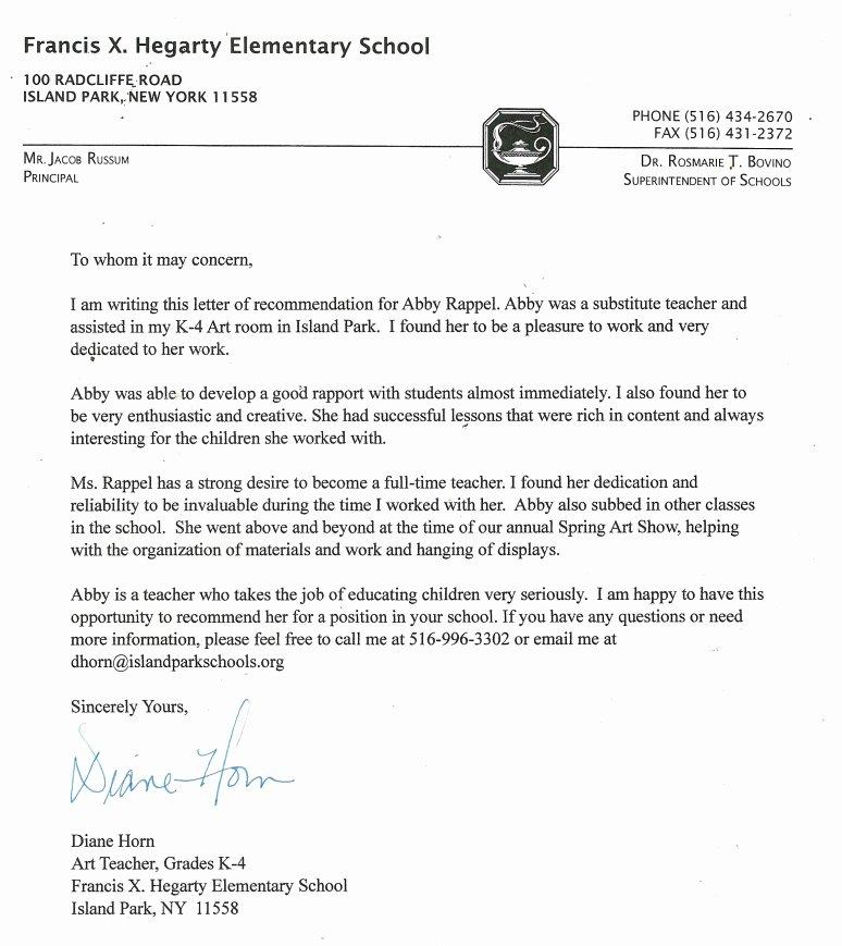 Letter Of Recommendation Elementary Teacher Lovely Letters Re Mendation