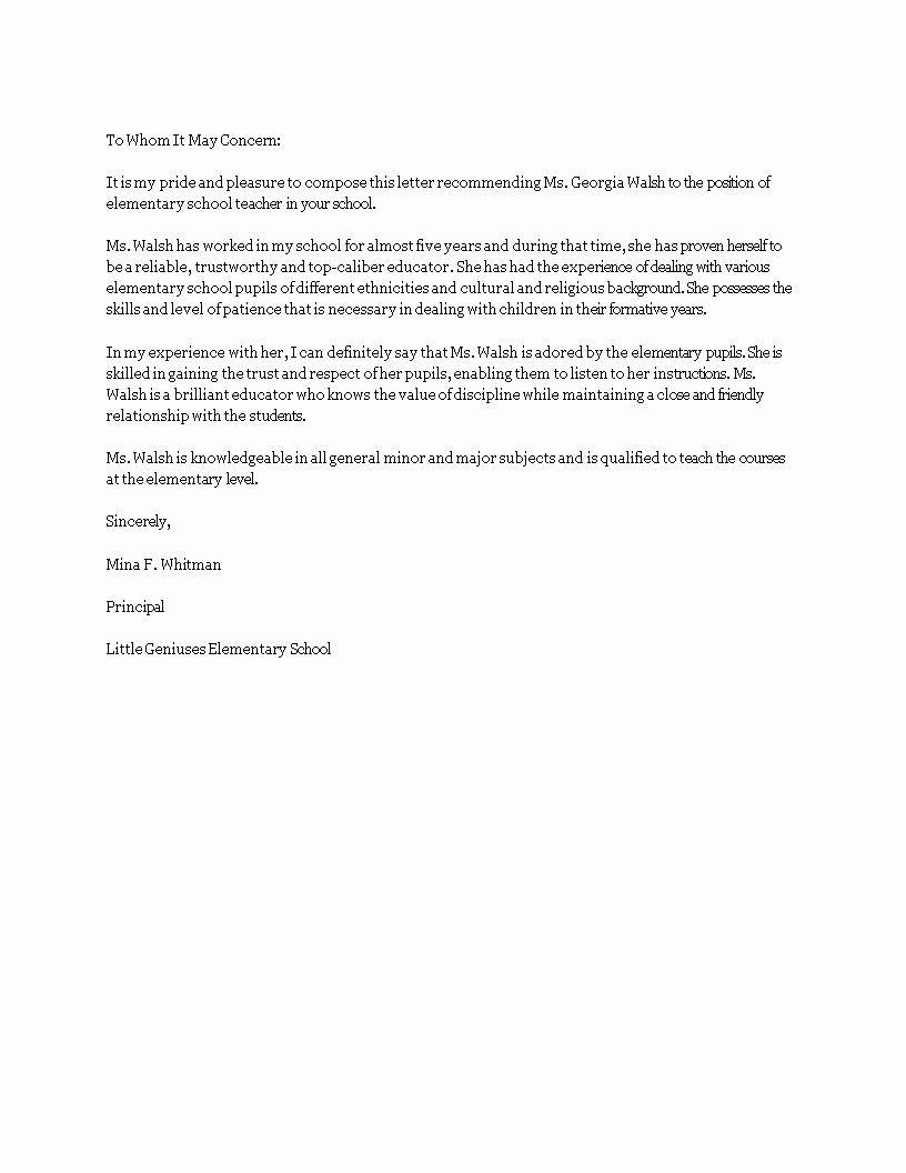 Letter Of Recommendation Elementary Teacher New Free Elementary Teacher Re Mendation Letter