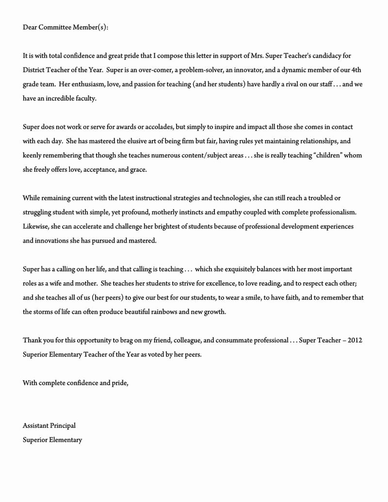 Letter Of Recommendation Elementary Teacher Unique Re Mendation Letter for A Teacher 32 Sample Letters
