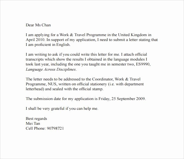 Letter Of Recommendation Email Template Inspirational Sample Email Reference Letter Template 6 Free Documents
