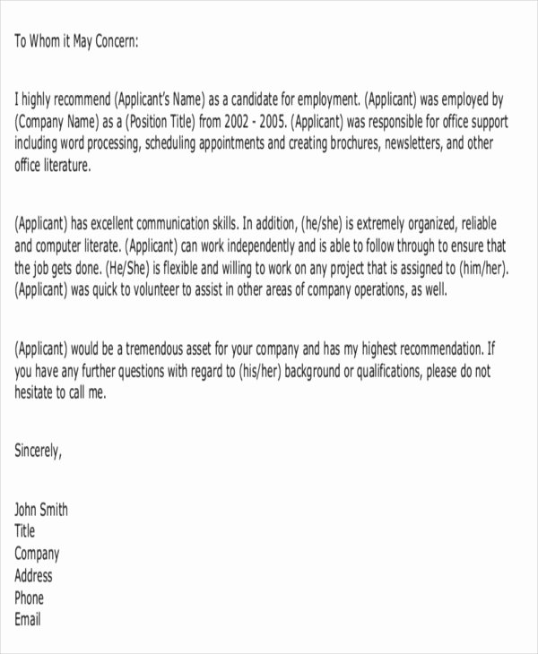 Letter Of Recommendation Email Template Lovely 7 formal Reference Letter Templates Free Word Pdf