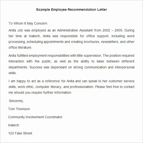 Letter Of Recommendation Email Template Luxury 18 Employee Re Mendation Letters Pdf Doc