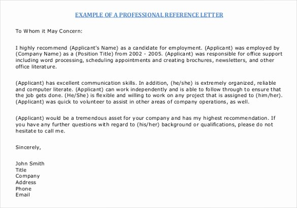Letter Of Recommendation Email Template Unique 42 Reference Letter Templates Pdf Doc