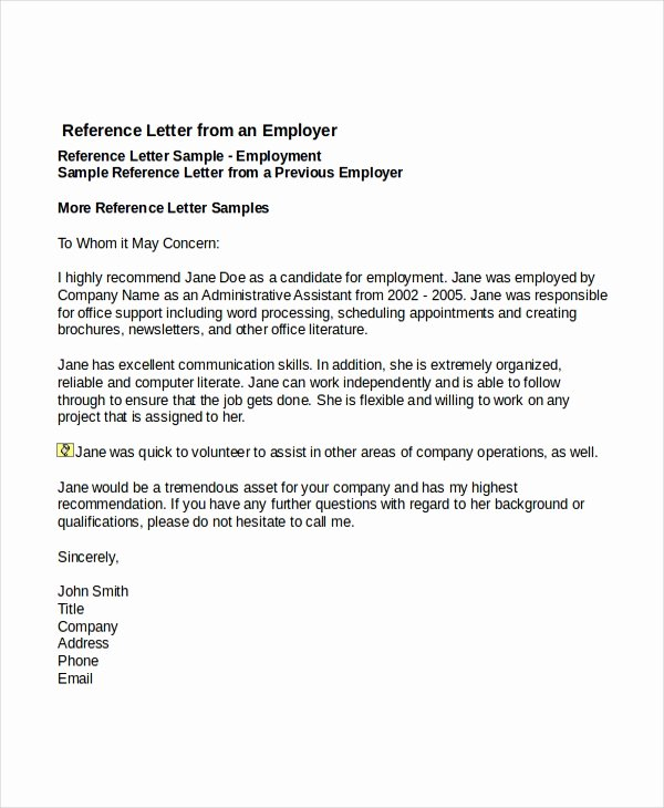 Letter Of Recommendation Email Template Unique 7 Job Reference Letter Templates Free Sample Example