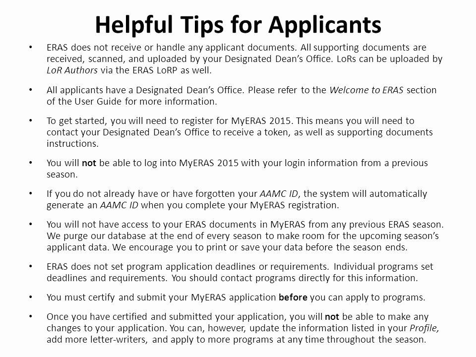 Letter Of Recommendation Eras Elegant Eras Electronic Residency Application Service Ppt