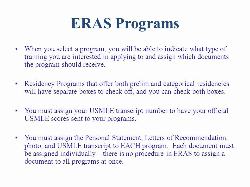 Letter Of Recommendation Eras Fresh Eras Electronic Residency Application Service Ppt