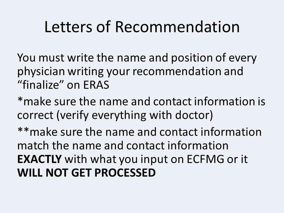 Letter Of Recommendation Eras Inspirational Residency Rotation Information Session Ppt