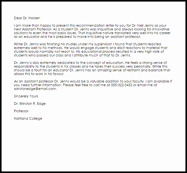 Letter Of Recommendation Etiquette Beautiful assistant Professor Re Mendation Letter Sample