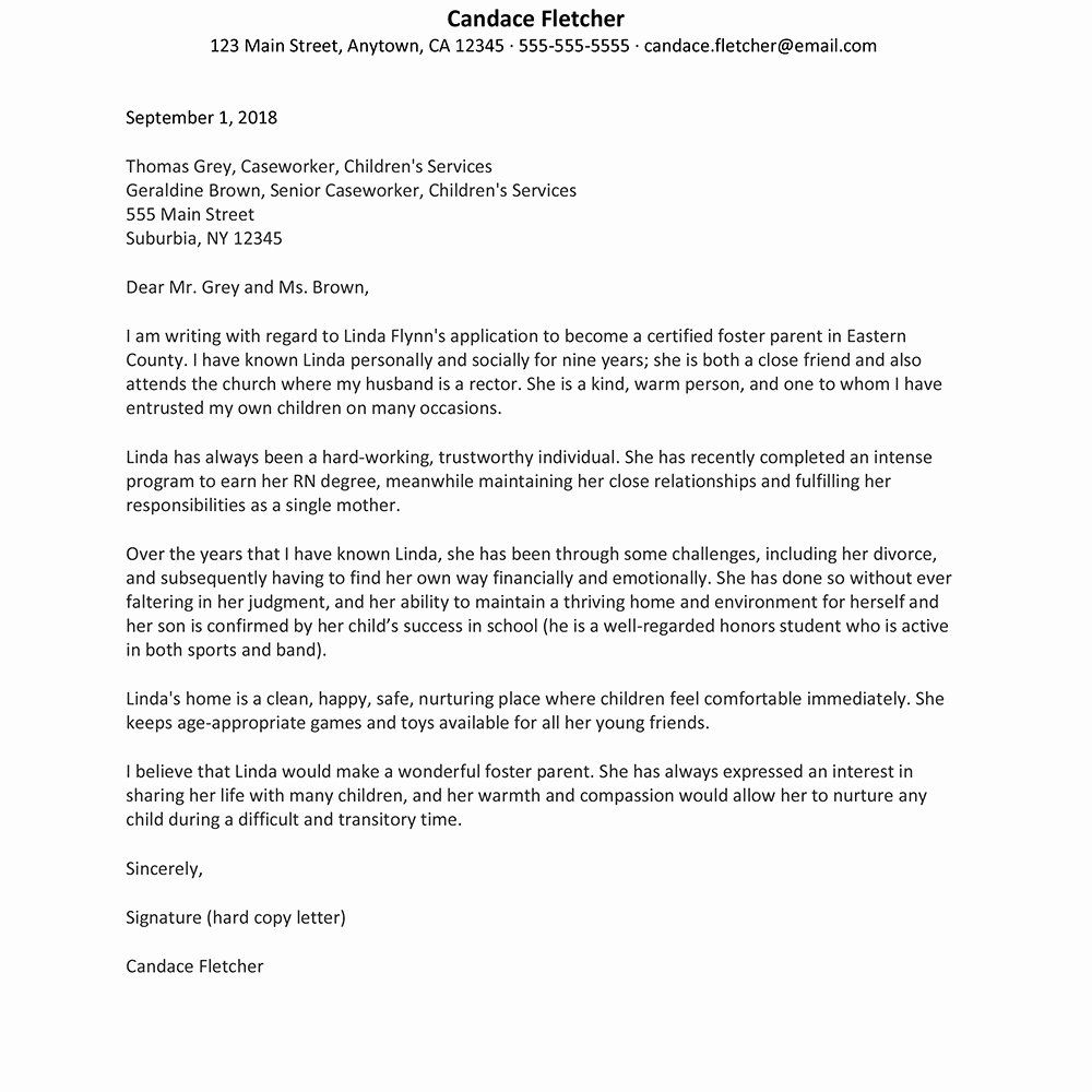 Letter Of Recommendation for Adoption Awesome Adoption Reference Letter Examples Re Mendation