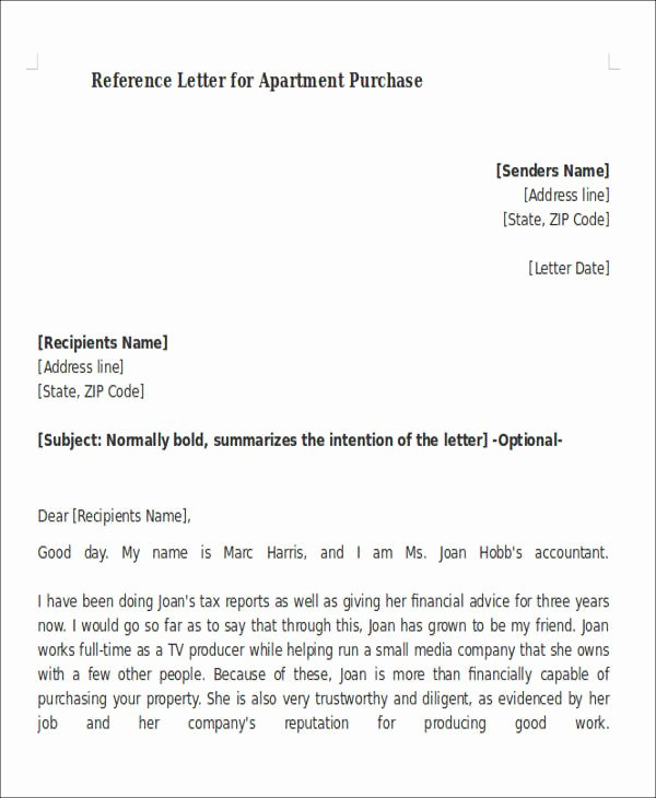 Letter Of Recommendation for Apartment Beautiful 8 Sample Reference Letters for Apartment Pdf Doc