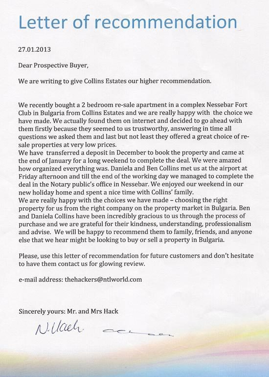 Letter Of Recommendation for Apartment Elegant Bulgaria Property for Sale Pay Monthly