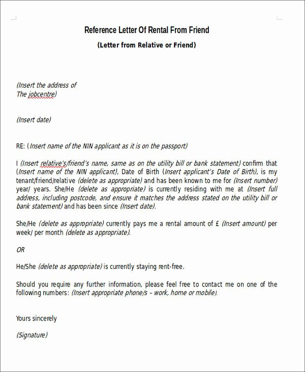 Letter Of Recommendation for Apartment Elegant Sample Rental Reference Letter 8 Examples In Pdf Word