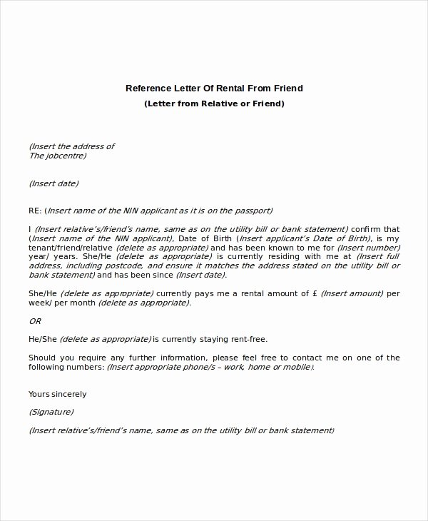 Letter Of Recommendation for Apartment Fresh 12 Rental Reference Letter Templates Free Sample