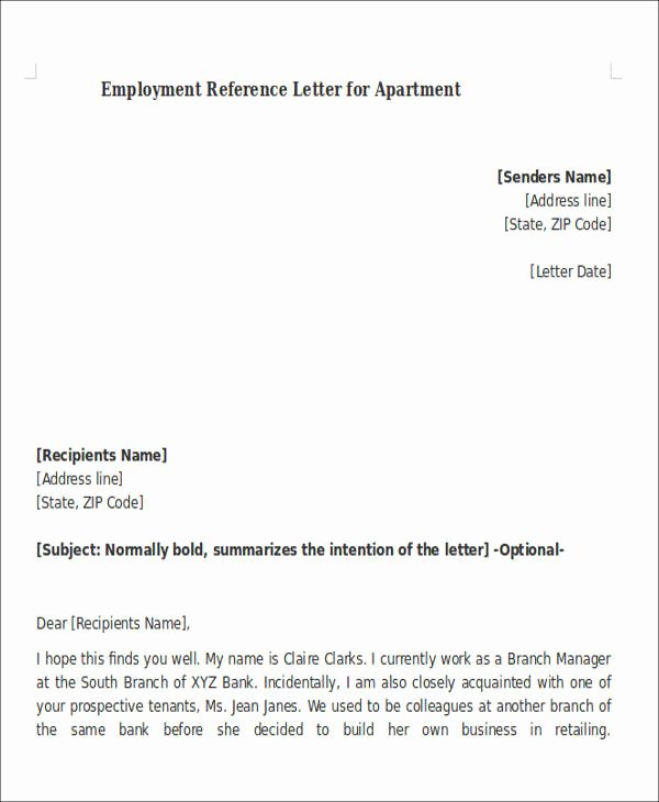 Letter Of Recommendation for Apartment Fresh 8 Sample Reference Letters for Apartment Pdf Doc