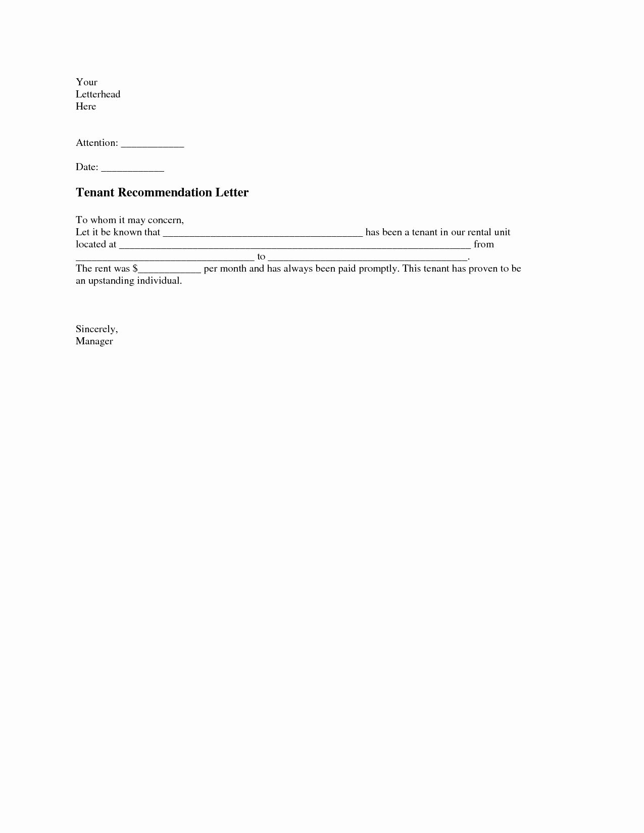 Letter Of Recommendation for Apartment Unique Tenant Re Mendation Letter A Tenant Re Mendation