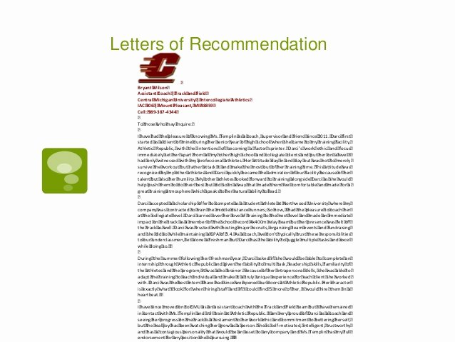 Letter Of Recommendation for athlete Beautiful Portfolio Darci asel Templin