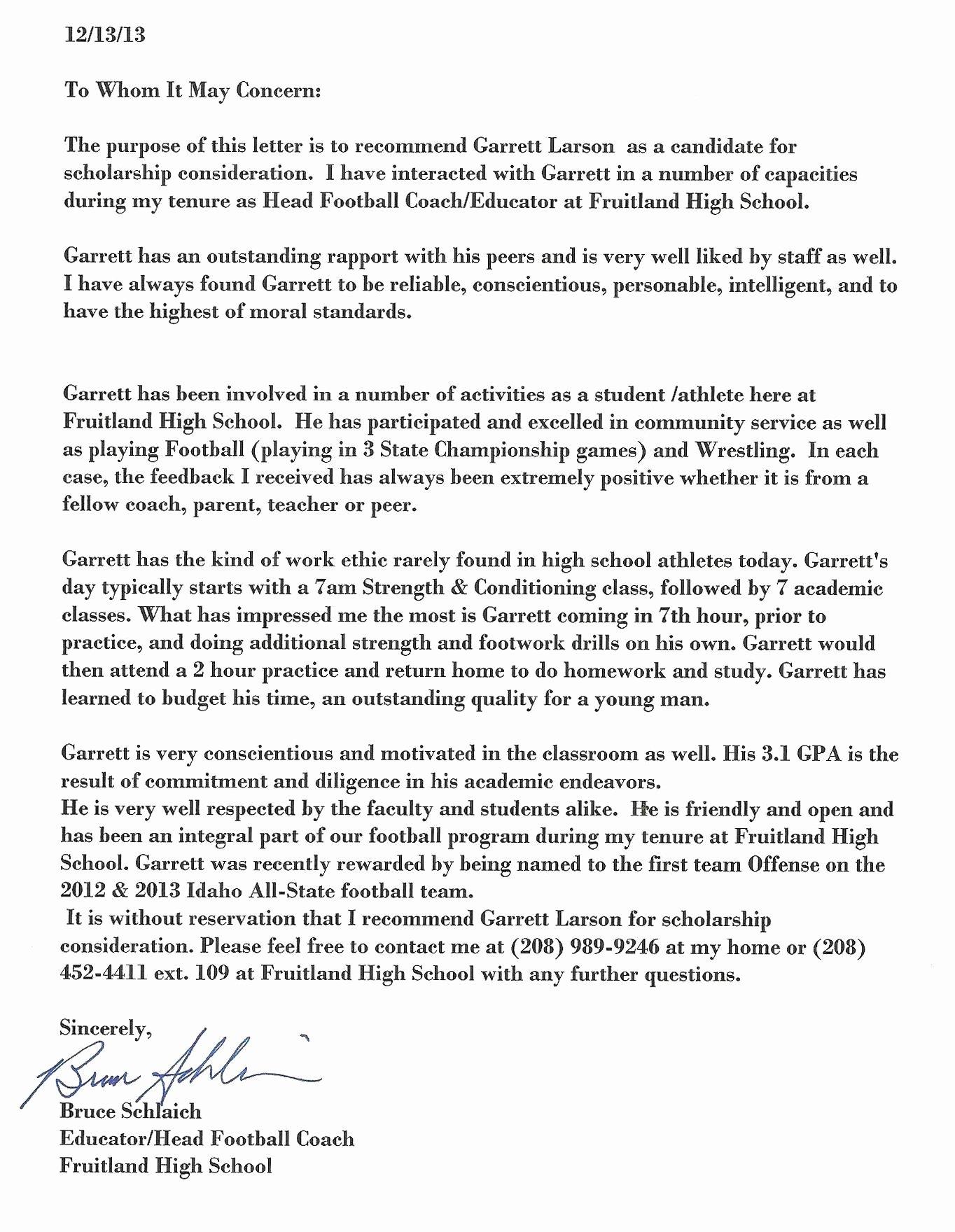 Letter Of Recommendation for athlete Best Of Garrett Larson