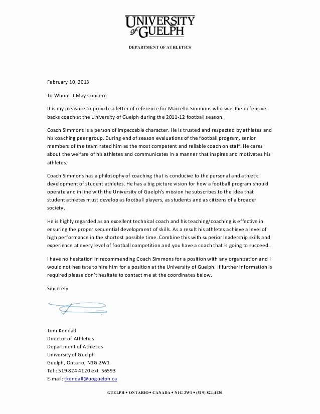 Letter Of Recommendation for athlete Best Of Guelph Reference Letter