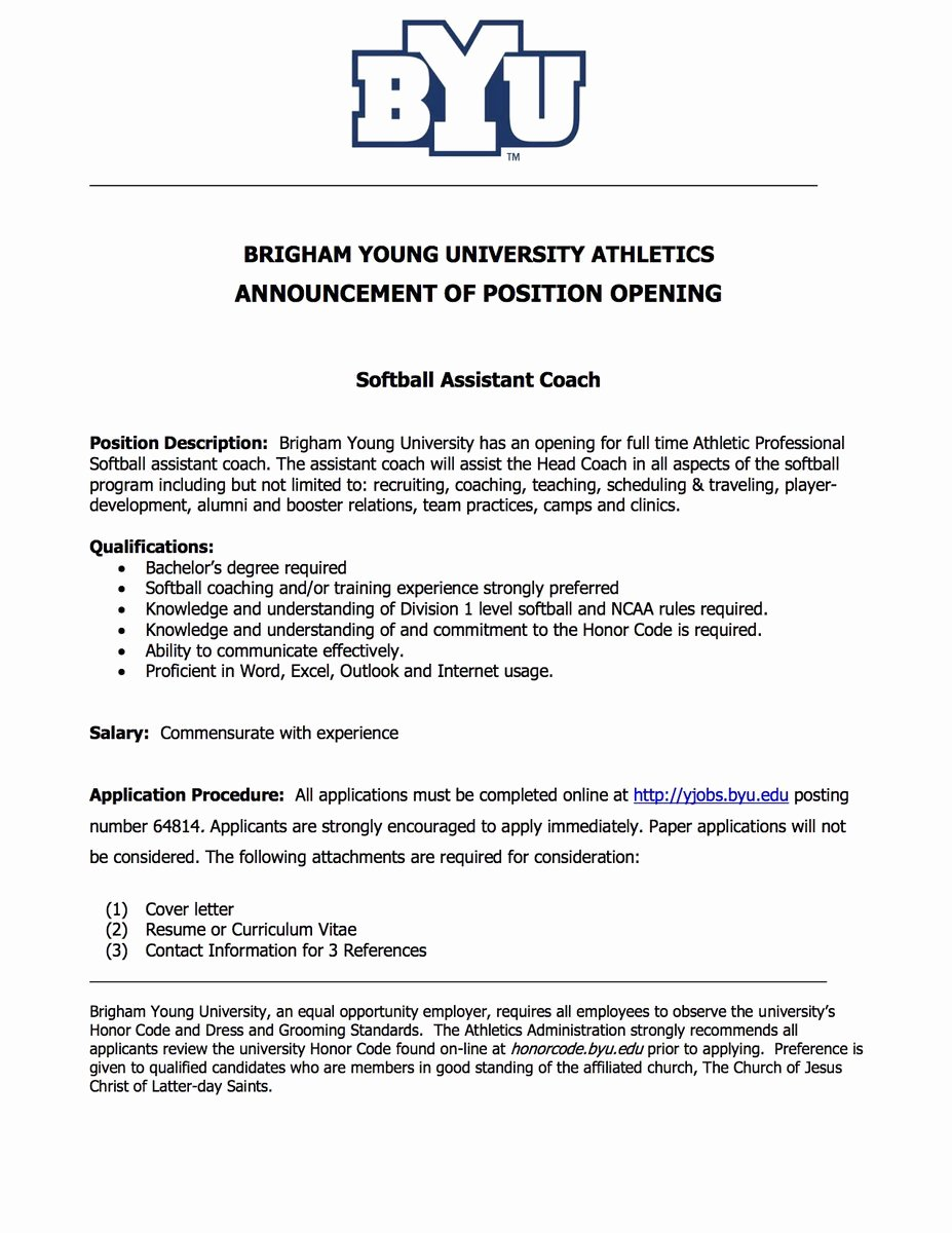 Letter Of Recommendation for athlete Elegant byu softball byusoftball