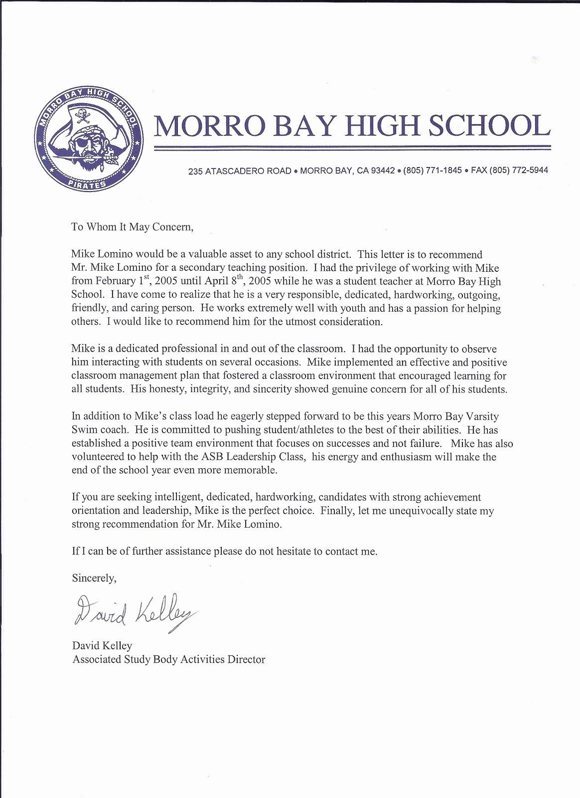 Letter Of Recommendation for athlete Lovely Mr Lomino