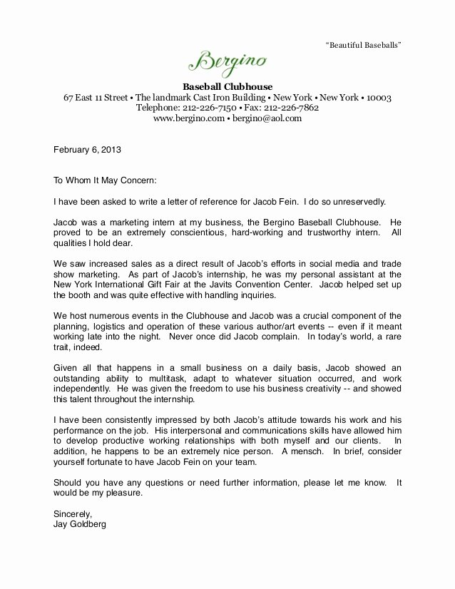 Letter Of Recommendation for athlete Unique Bergino Baseball Clubhouse Letter Of Re Mendation