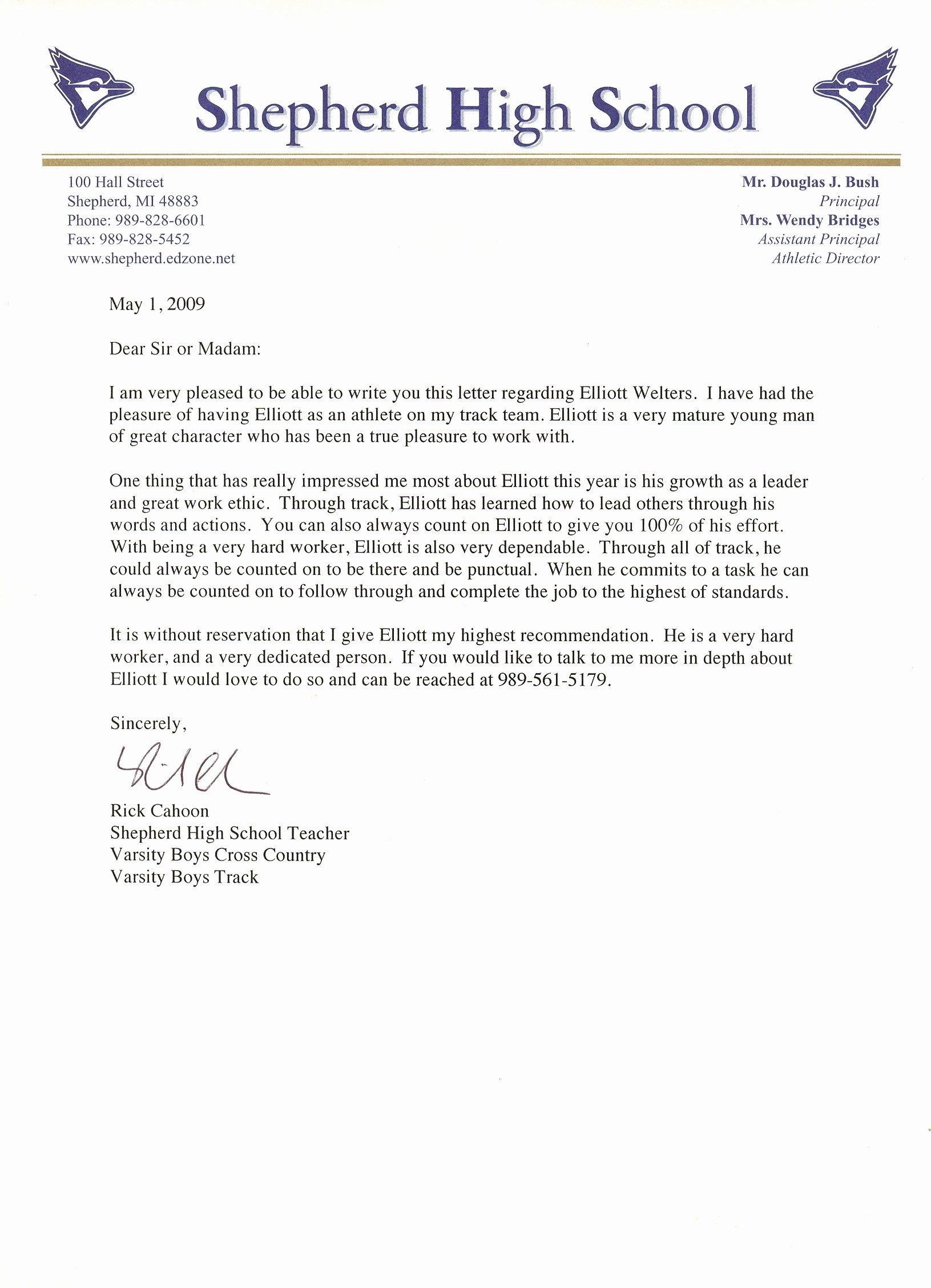 Letter Of Recommendation for athlete Unique Writing A Letter Re Mendation for A Student athlete