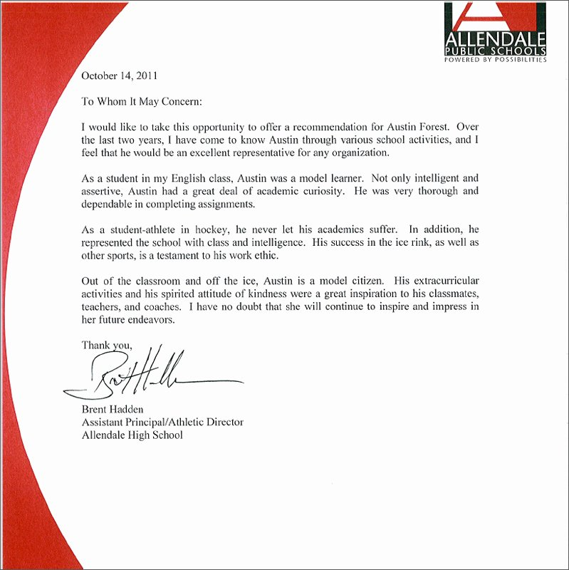 Letter Of Recommendation for athletes Beautiful Re Mendation Letters Austin forest S Eportfolio