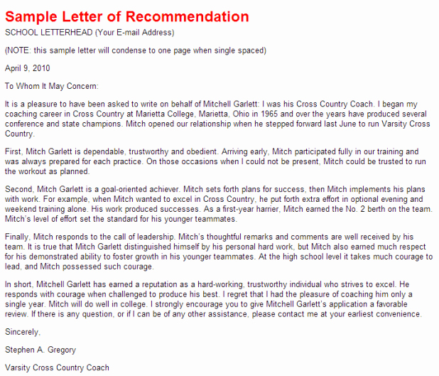 Letter Of Recommendation for athletes Best Of How to Write A Re Mendation Letter for Student athlete