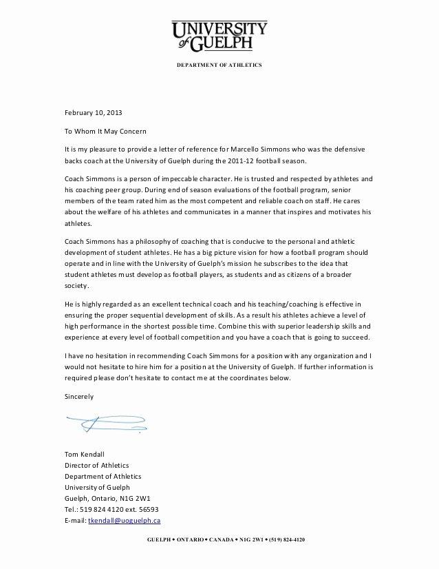 Letter Of Recommendation for athletes Elegant Guelph Reference Letter