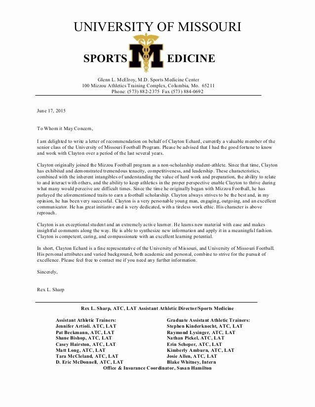 Letter Of Recommendation for athletes Inspirational Letter Of Re Mendation