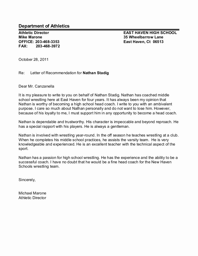 Letter Of Recommendation for athletes New Letter Of Re Mendation Mike Marone