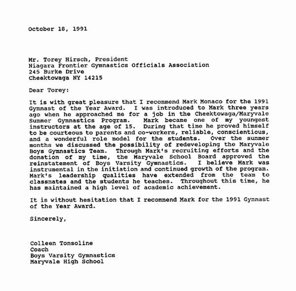 Letter Of Recommendation for Award Fresh Mark A Monaco Memorial Foundation