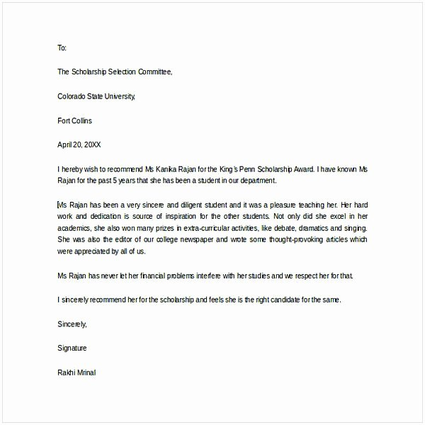 Letter Of Recommendation for Award Inspirational Letter Of Re Mendation for Scholarship