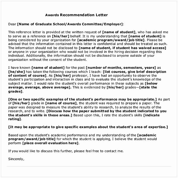 Letter Of Recommendation for Award Luxury Sample Letter Of Re Mendation for Graduate School From