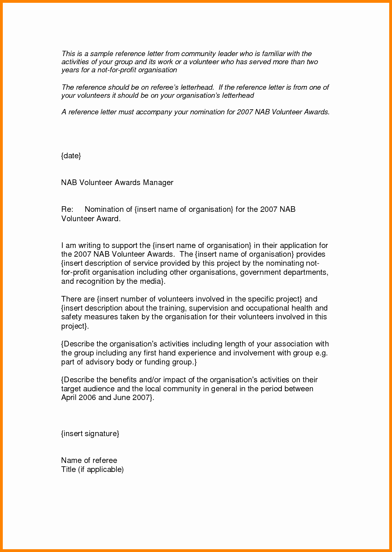 Letter Of Recommendation for Award Luxury Sample Re Mendation Letter for Volunteer Award