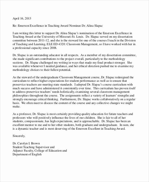 Letter Of Recommendation for Award Unique 11 Professor Re Mendation Letter Samples