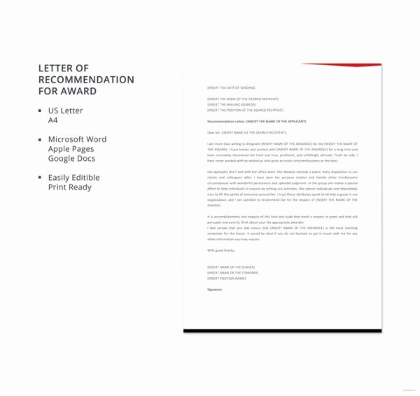Letter Of Recommendation for Award Unique 39 Re Mendation Letter format Templates