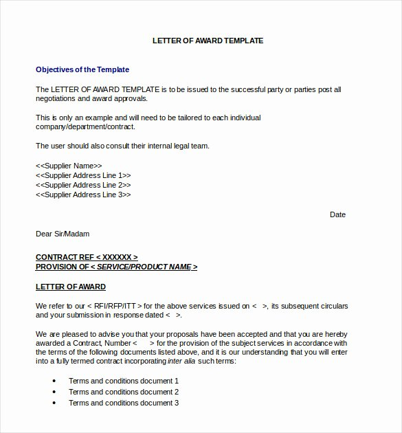 Letter Of Recommendation for Awards Awesome 13 Award Letter Templates Pdf Doc