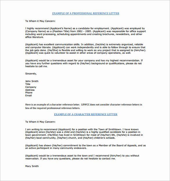 Letter Of Recommendation for Awards Fresh 0 Character Letters Of Re Mendation Pdf Doc