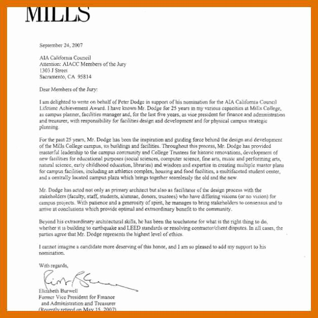 Letter Of Recommendation for Awards Luxury 5 6 Letter Of Support for Award Nomination